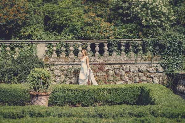 exclusive wedding venue - Bride in Garden at Gloster House